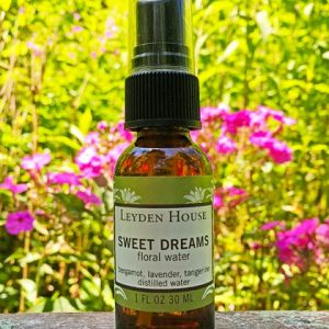 Photo of leyden House Sweet dreams floral water in an amber 1 oz bottle with spray cap.