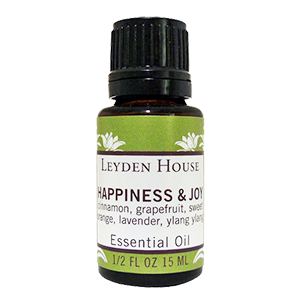 Photo of Leyden House Happiness and Joy essential oil blend.