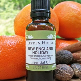 Photo of New England Holiday essential oil blend from Leyden House. Comes in an amber glass bottle with green label.