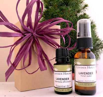 Photo of Leyden House Lavender gift box containing 1 oz lavender floral water and a 1/2 oz lavender essential oil. l